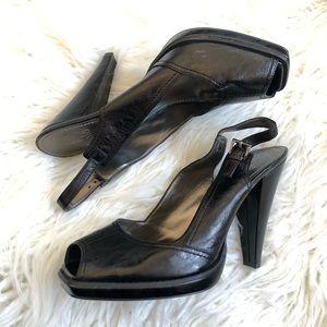 Linea Paolo Square Peep Toe Slingback Heels